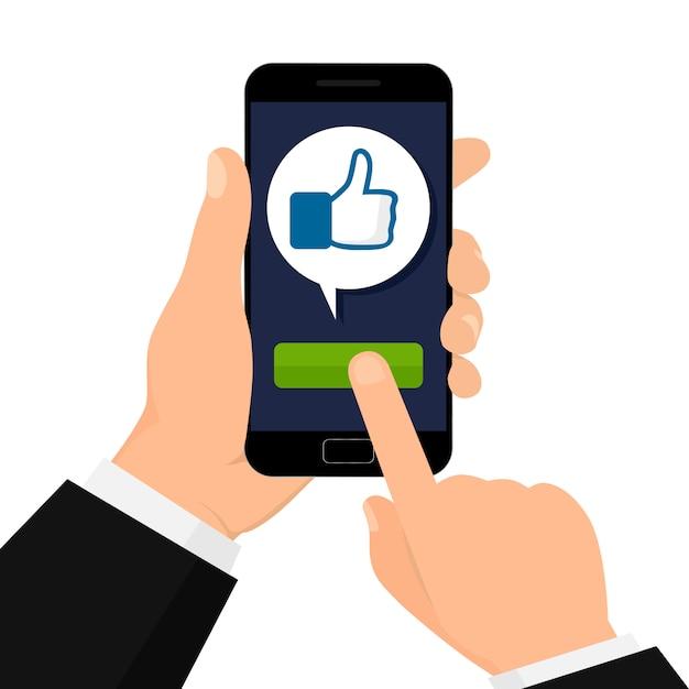 Concept van sociale netwerken. ik vind het leuk knop. Premium Vector