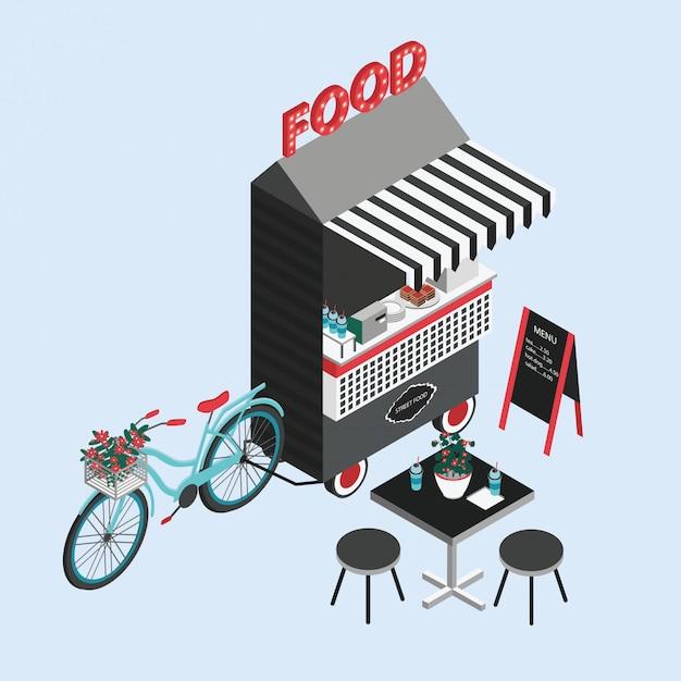 Concept van straatvoedsel. fietskiosk, foodtruck, draagbaar café op wielen. isometrische illustratie met fastfood verkooppunt, tafel en stoelen. bovenaanzicht. kleurrijke vector. Premium Vector