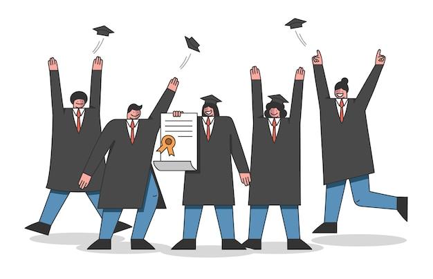 Concept van universitaire cursussen en afstuderen. studenten vieren het einde van de academietraining. Premium Vector
