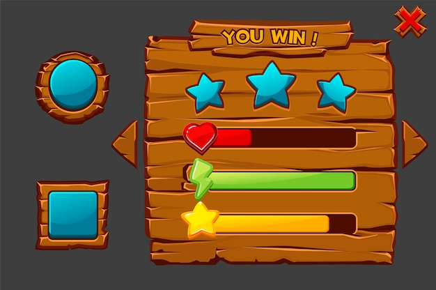 Concept van vector game houten interface die je wint. spelvenster met knoppen en pictogrammen. Premium Vector