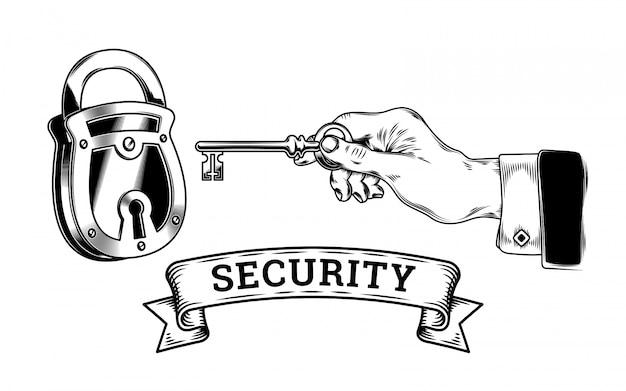 Concept van veiligheid - hand met sleutel opent, sluit slot Gratis Vector