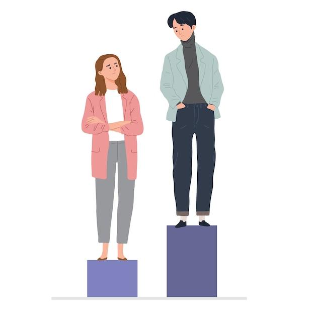 Concept van vrouw en man loonkloof ongelijkheid tussen mannen en vrouwen op de werkplek Gratis Vector