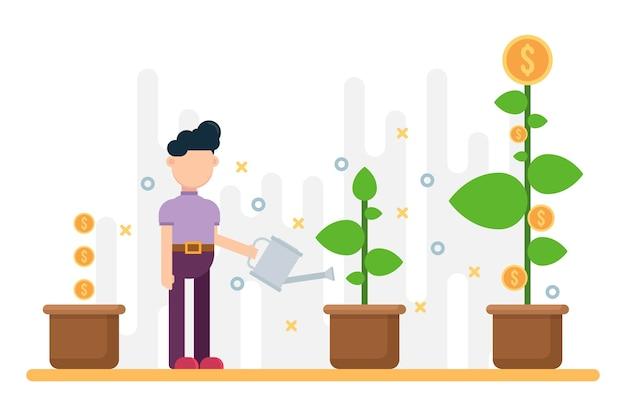 Concept van zakelijk succes. groeiende geldboom in pot. Premium Vector