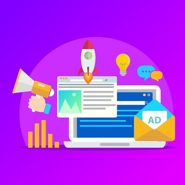 Concept voor digitale marketingbureau, digitale media campagne platte vectorillustratie met elementen. Premium Vector