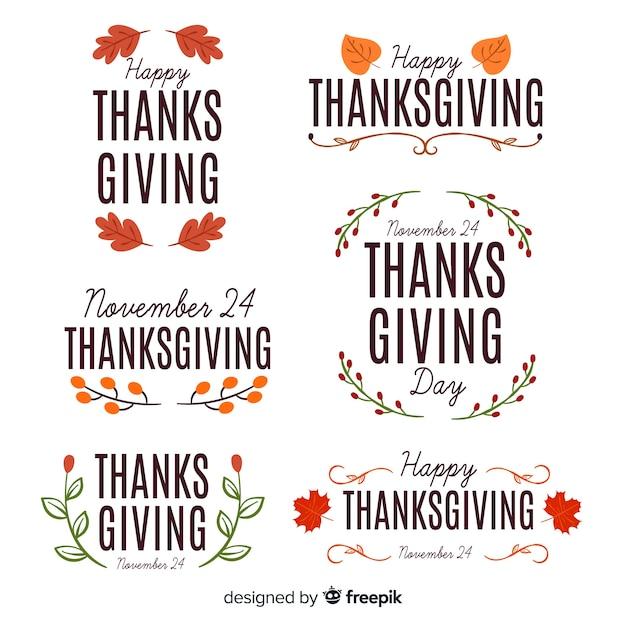 Concept voor thanksgiving day badge collectie Gratis Vector