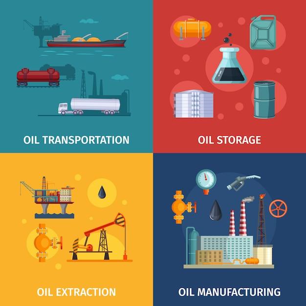 Conceptafbeeldingen van olieproductie. brandstofverkenning Premium Vector