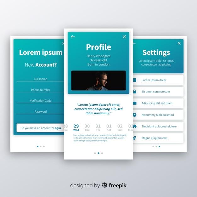 Concepten voor mobiele app Gratis Vector