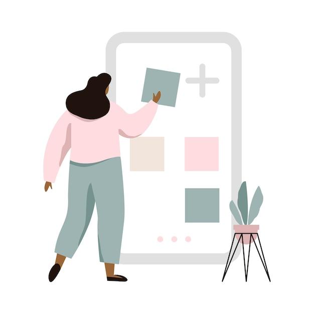 Conceptenillustratie van mobiele toepassingsbouwer. vrouw die het grote scherm met plaats de bouwhulpmiddelen gebruikt. Premium Vector
