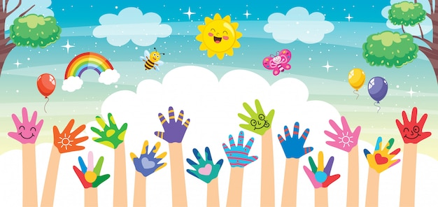 Conceptontwerp met geschilderde handen van kleine kinderen Premium Vector