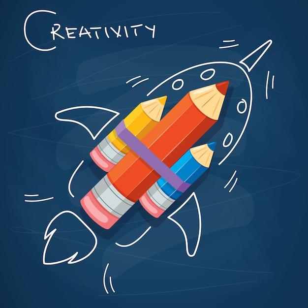 Conceptontwerp voor creatief denken Premium Vector