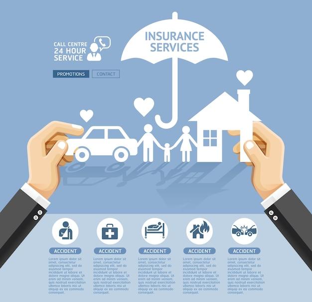 Conceptueel ontwerp van verzekeringspolissen. Premium Vector