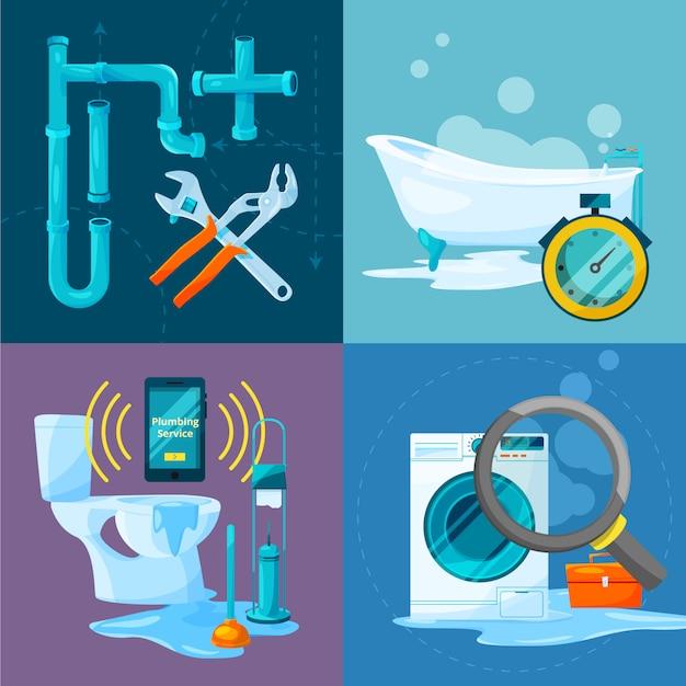 Conceptuele afbeeldingen set van sanitair werkt. badkamer- en keukenleidingen en andere specifieke accessoires. Premium Vector