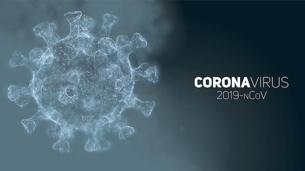 Conceptuele coronavirus-illustratie. 3d virusvorm op een abstracte achtergrond. pathogen visualisatie. Gratis Vector