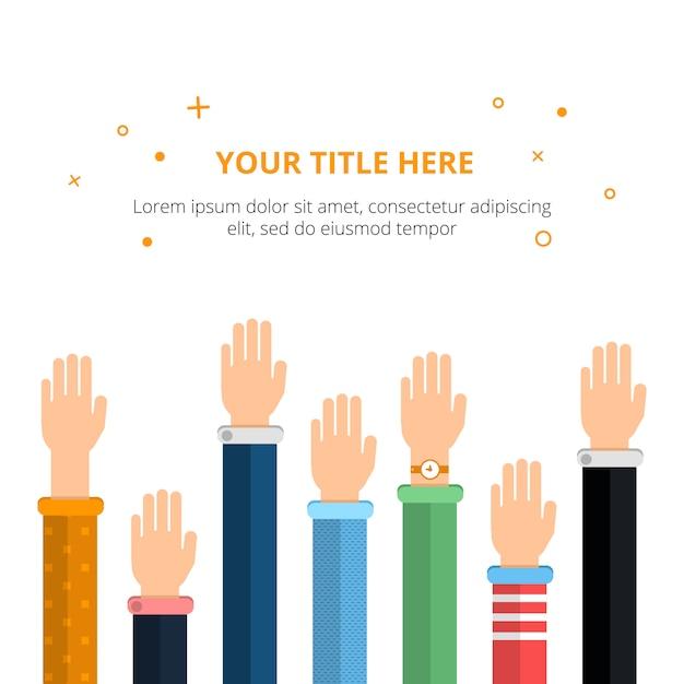 Conceptuele poster met verschillende handen in actie poses. vectorillustratie in vlakke stijl Premium Vector