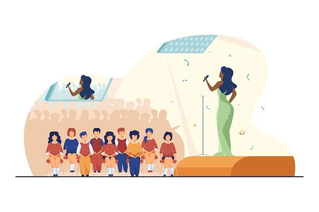 Concert voor schoolkinderen. performer zingen op het podium, kind in audiëntiezaal platte vectorillustratie. entertainment, schoolfeest, optreden Gratis Vector