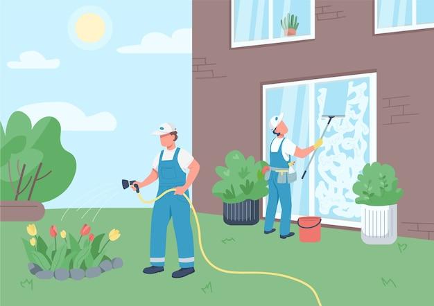 Conciërges team schoonmaken huis egale kleur. professionele huishoudsters 2d stripfiguren met gebouw op de achtergrond. schoonmakers die ramen wassen en bloemen water geven Premium Vector