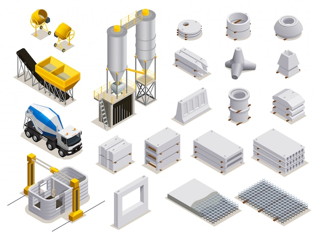 Concrete productiereeks isometrische pictogrammen met geïsoleerd transportmateriaal en afgewerkte steendetails Gratis Vector