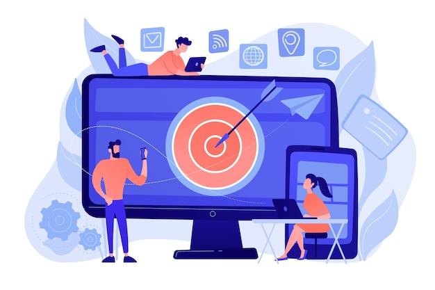 Concumers met apparaten krijgen gerichte advertenties en berichten. multi-device-targeting, publiek bereiken, cross-device marketingconcept Gratis Vector