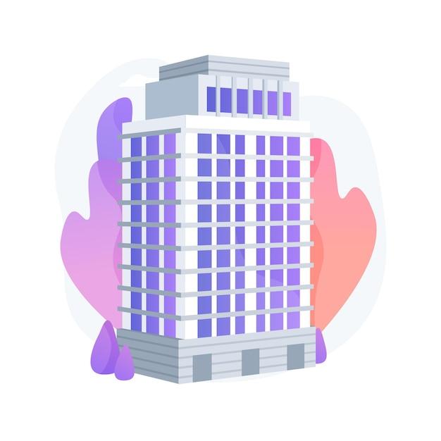 Condominium abstract begrip vectorillustratie. privéwoning in een gebouwencomplex, condominiumbeheer, huishouden in eigendom van de verhuurder, huis met meerdere verdiepingen, abstracte metafoor. Gratis Vector