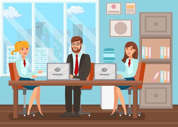 Conference room meeting flat Premium Vector