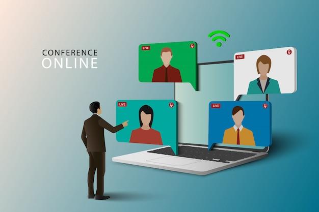 Conferentie bijeenkomst online concept. live meeting op laptop. videovergadering online. videoconferentie landing. live conferencing en online vergaderwerkruimte. Premium Vector