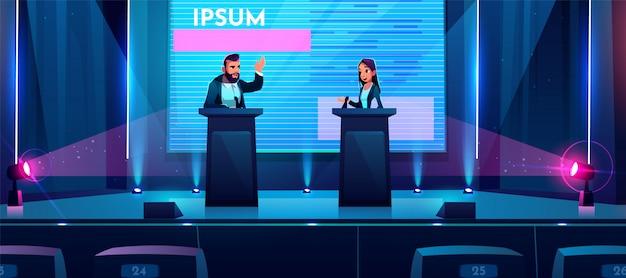 Conferentie debatteert bedrijfspresentatie op het podium Gratis Vector