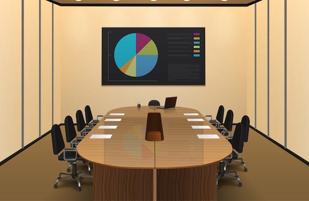 conferentie kamer interieur realistisch ontwerp met grafiek op het scherm vectorillustratie gratis vector