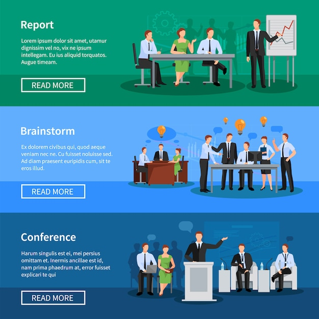 Conferentie platte horizontale banners Gratis Vector