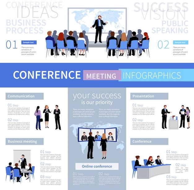 Conferentie vergadering mensen infographics sjabloon met verschillende soorten onderhandelingen Gratis Vector