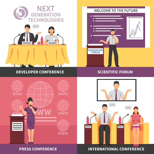 Conferentiezaal interieur icon set Gratis Vector