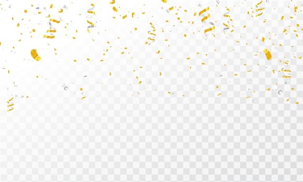 Confetti gouden linten. Premium Vector