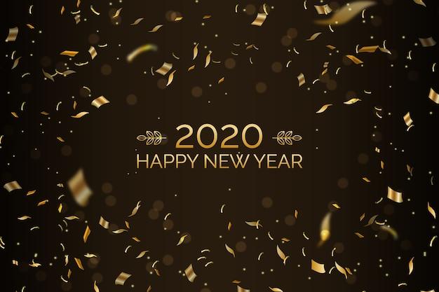 Confetti nieuwjaar 2020 achtergrond Gratis Vector