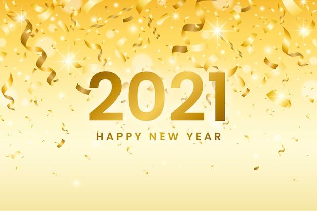 Confetti nieuwjaar 2021 achtergrond Gratis Vector