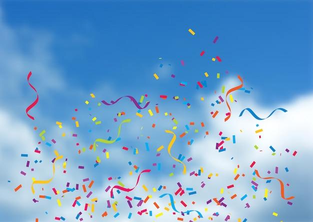 Confettien en wimpels op blauwe hemelachtergrond Gratis Vector