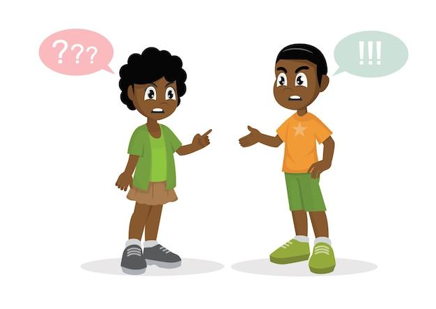 Conflict. afrikaanse jongen en een meisje ruzie. Premium Vector