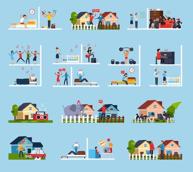 Conflicten met buren icons set Gratis Vector