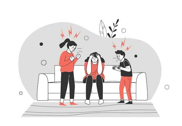 Conflicten, quarantaine-ruzies en meningsverschillen binnen het gezin. broer en zus maken ruzie en ontdekken de relatie. de kinderen vechten. vlakke stijl karakter vectorillustratie Premium Vector