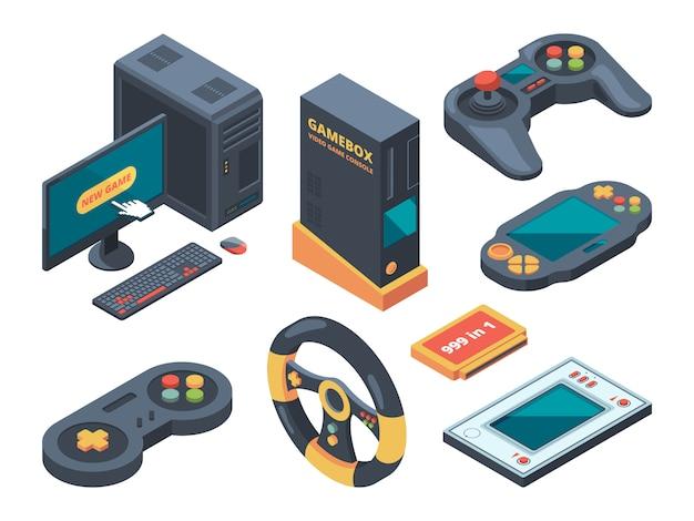 Console- en computersystemen en gadgets voor gamers Premium Vector