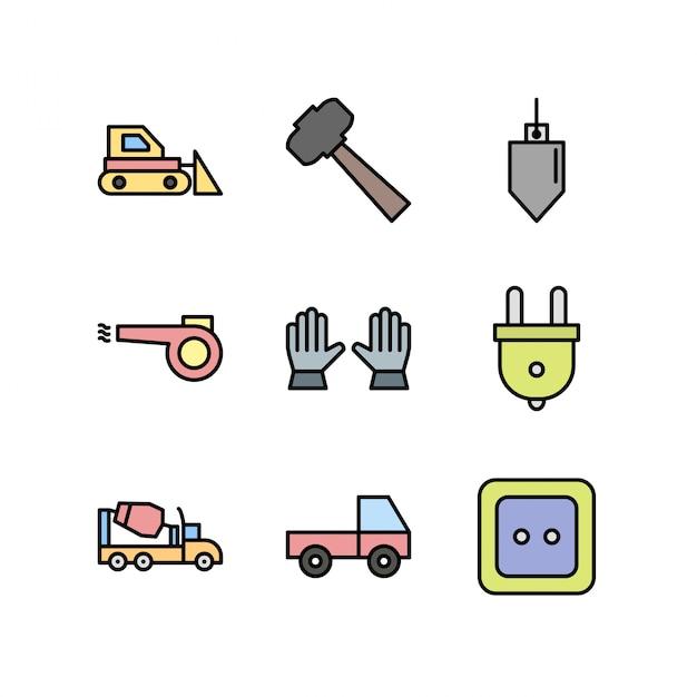 Constructie pictogrammen geïsoleerd op wit Premium Vector