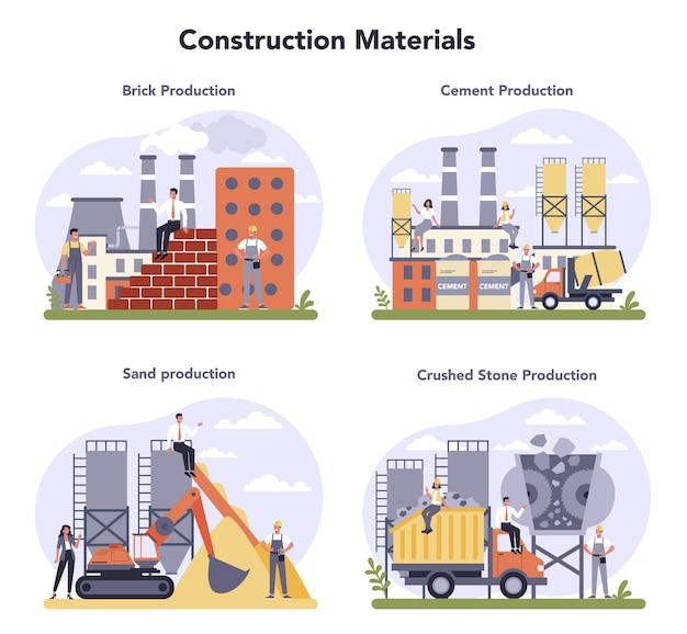 Constructieve materiaalproductie-industrie ingesteld. productie van bakstenen, cement, zand en steenslag. grondstof bouwen. wereldwijde classificatiestandaard voor de industrie. Premium Vector