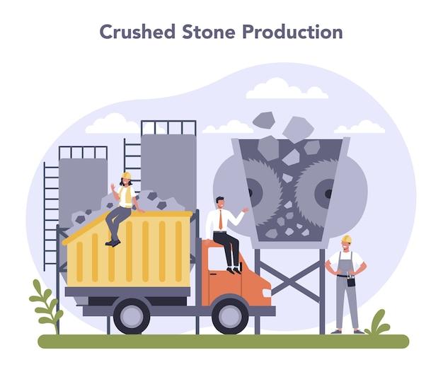 Constructieve materiaalproductie-industrie. productie van steenslag. Premium Vector