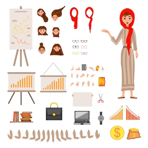 Constructorset van vrouwelijke personages. meisje met financiële attributen op witte achtergrond. Premium Vector