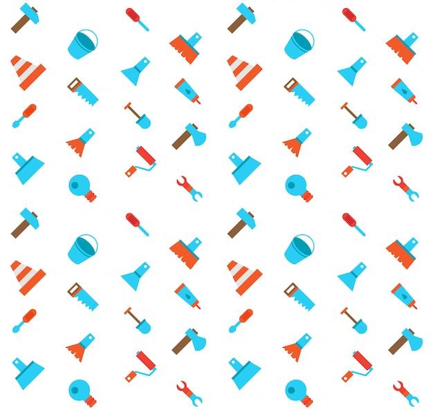 Construerend en bouwend pictogrammen naadloos patroon Premium Vector