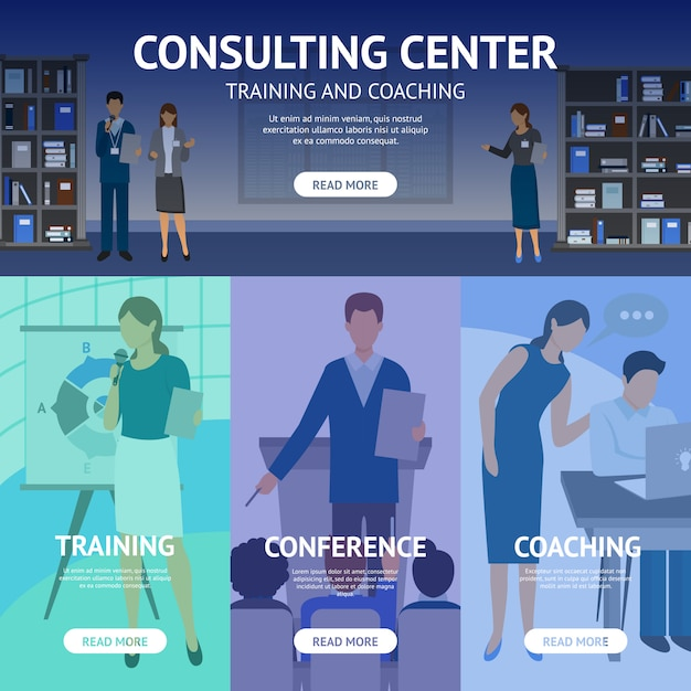 Consulting service center banners Gratis Vector