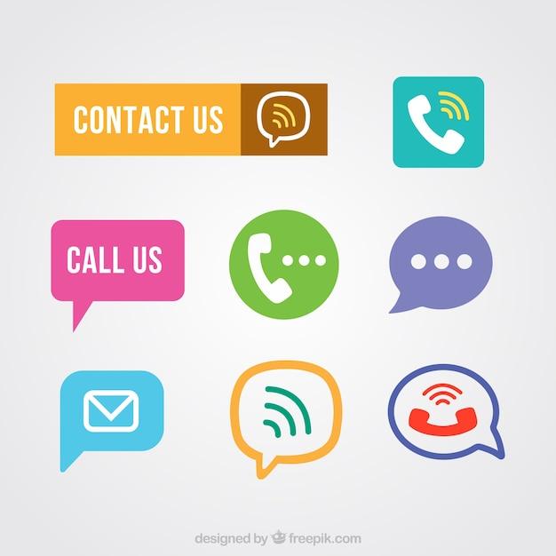 Contact knoppen te pakken Gratis Vector