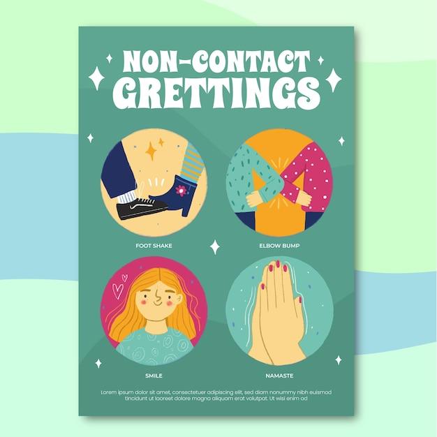 Contactloos groeten posterontwerp Gratis Vector