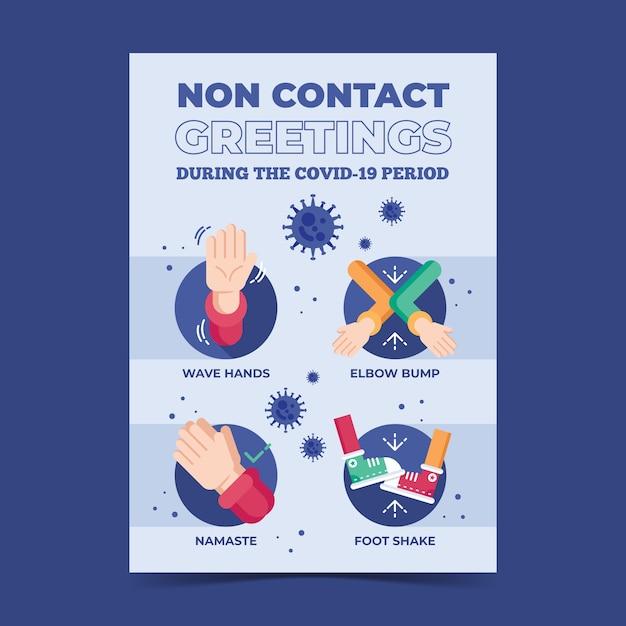 Contactloze begroetingen in posterformaat Gratis Vector