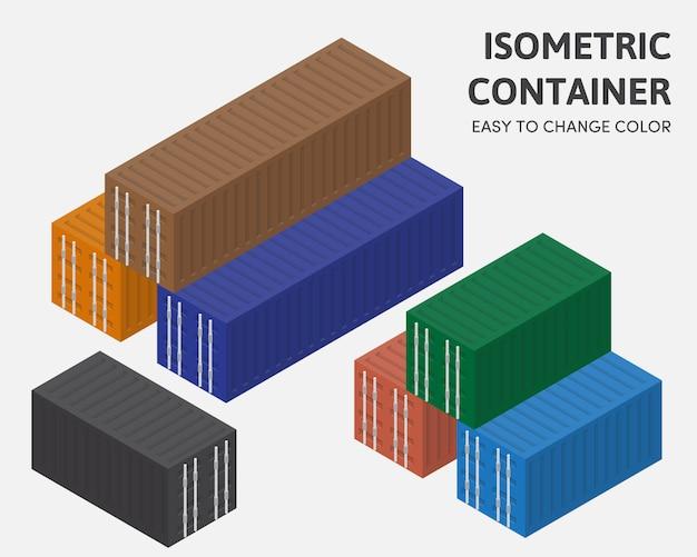Container box isometrische vector eenvoudig kleur wijzigen Premium Vector