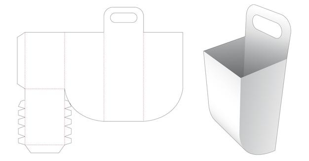 Container met afgeronde bodem en gestanst sjabloon met handvat Premium Vector