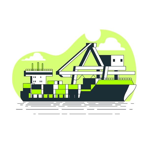 Container schip concept illustratie Gratis Vector